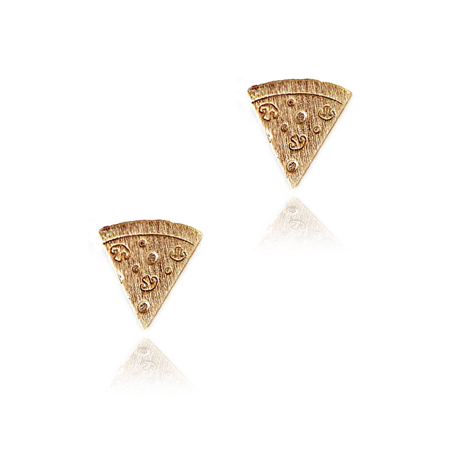 Golden Pizza Slice Post Earrings with Brushed Texture