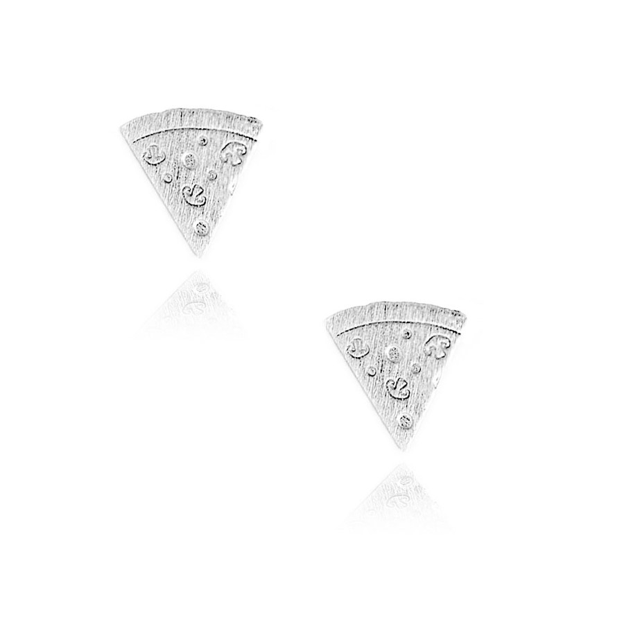 Silver Pizza Slice Post Earrings with Brushed Texture