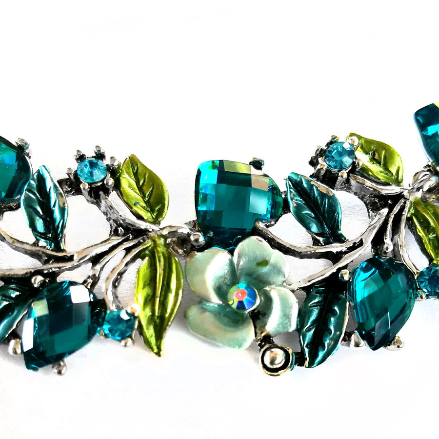 Silver and Vivid Teal Floral Bejeweled and Enameled Necklace and Earrings Set