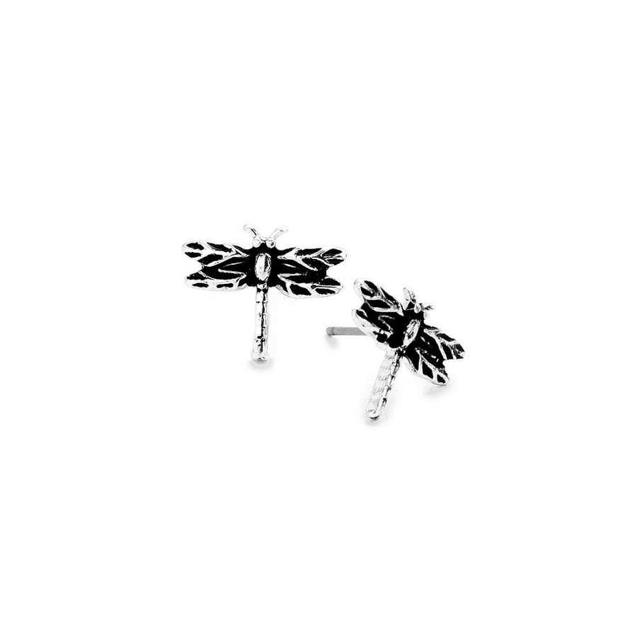 Mini Antiqued Silver Dragonfly Post Earrings