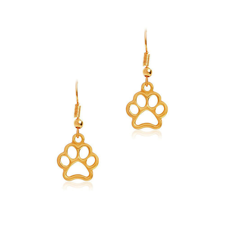Golden Paw Print Outline Drop Earrings