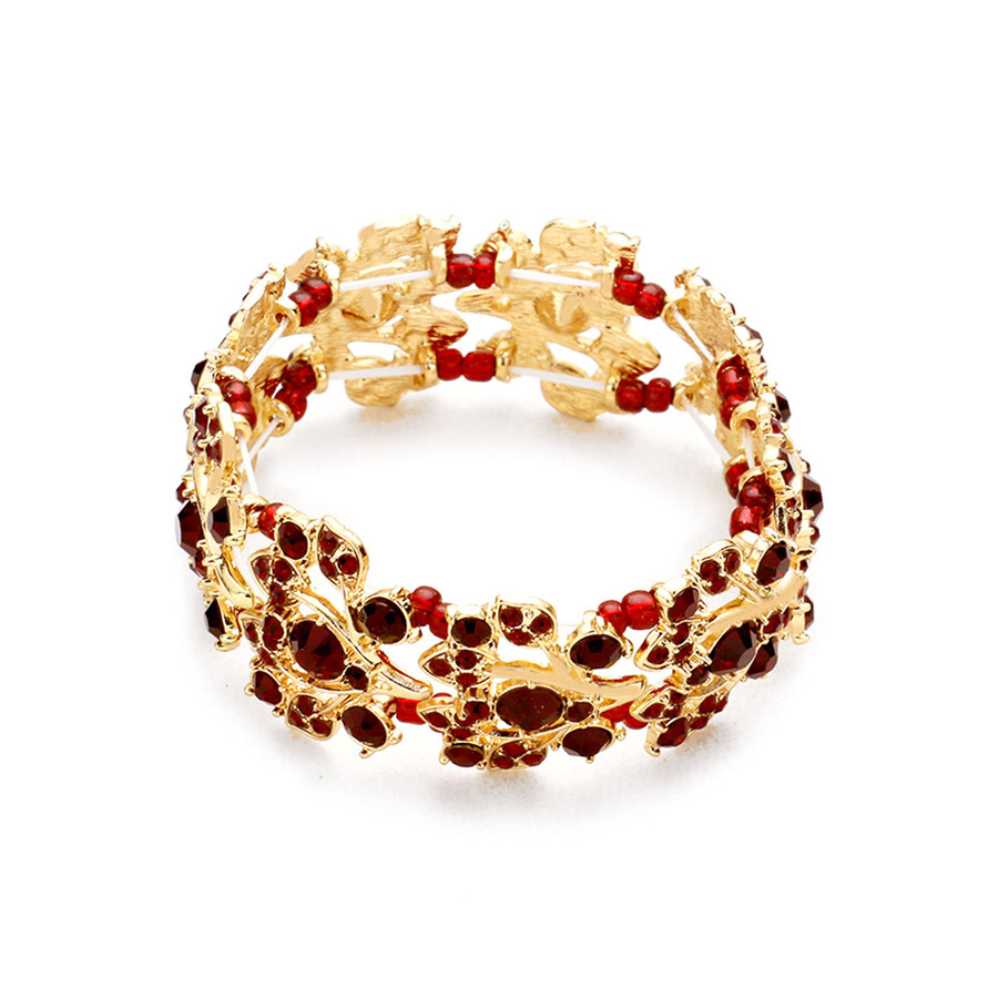 Stunning Gold and Red Crystal Bracelet