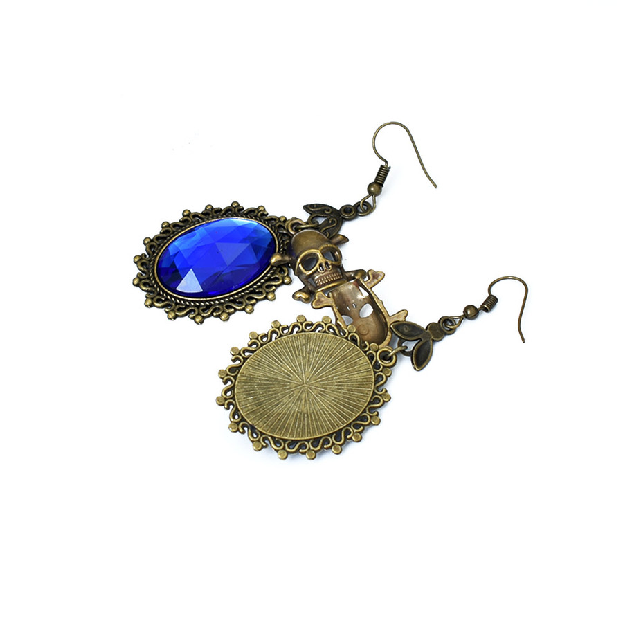 Royal Blue Crystal Steampunk Drop Earrings with Antiqued Gold Bezel and Skull Charm