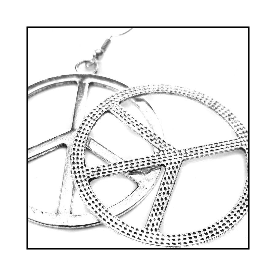Silver Peace Sign Drop Earrings