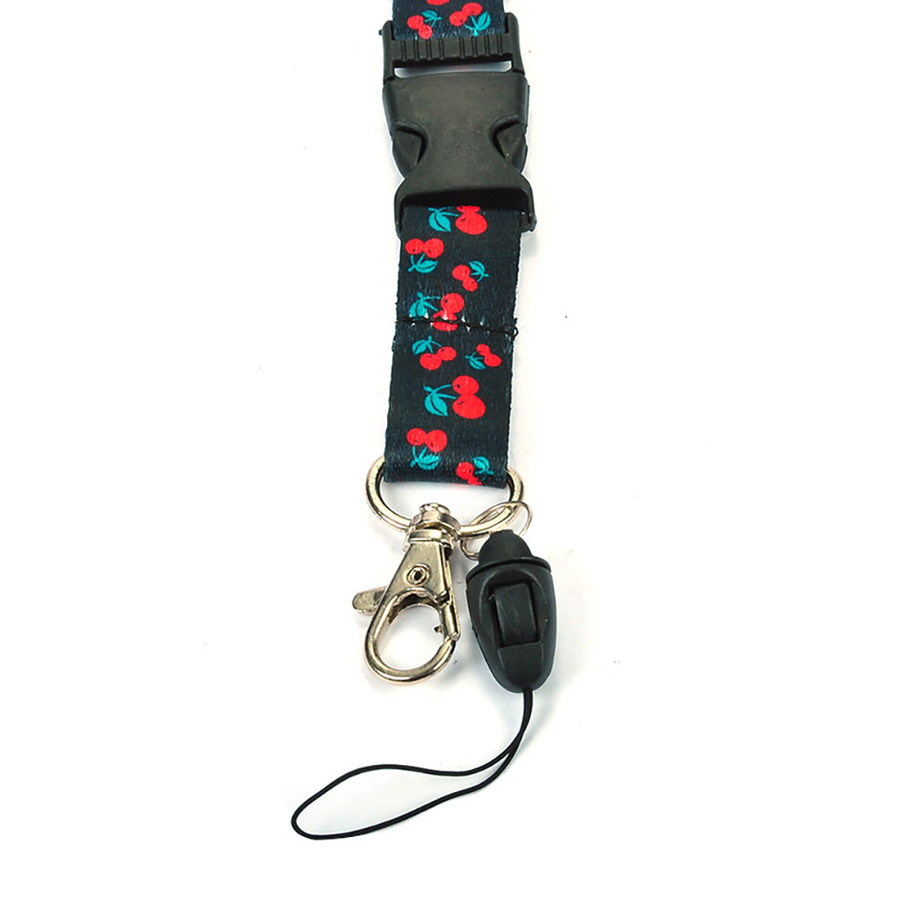 Cherry Pattern Fabric Lanyard Necklace with Quick Release and 2 ID/Badge/Card Holders