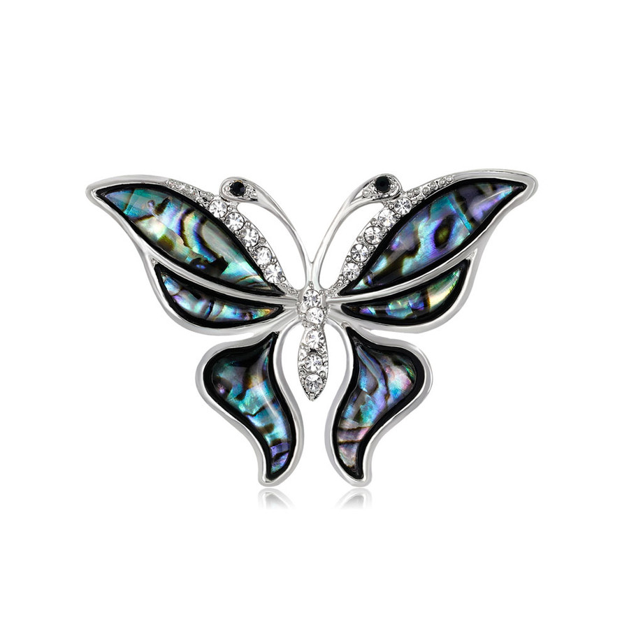 Bejeweled Silver Butterfly Pin with Abalone Wings