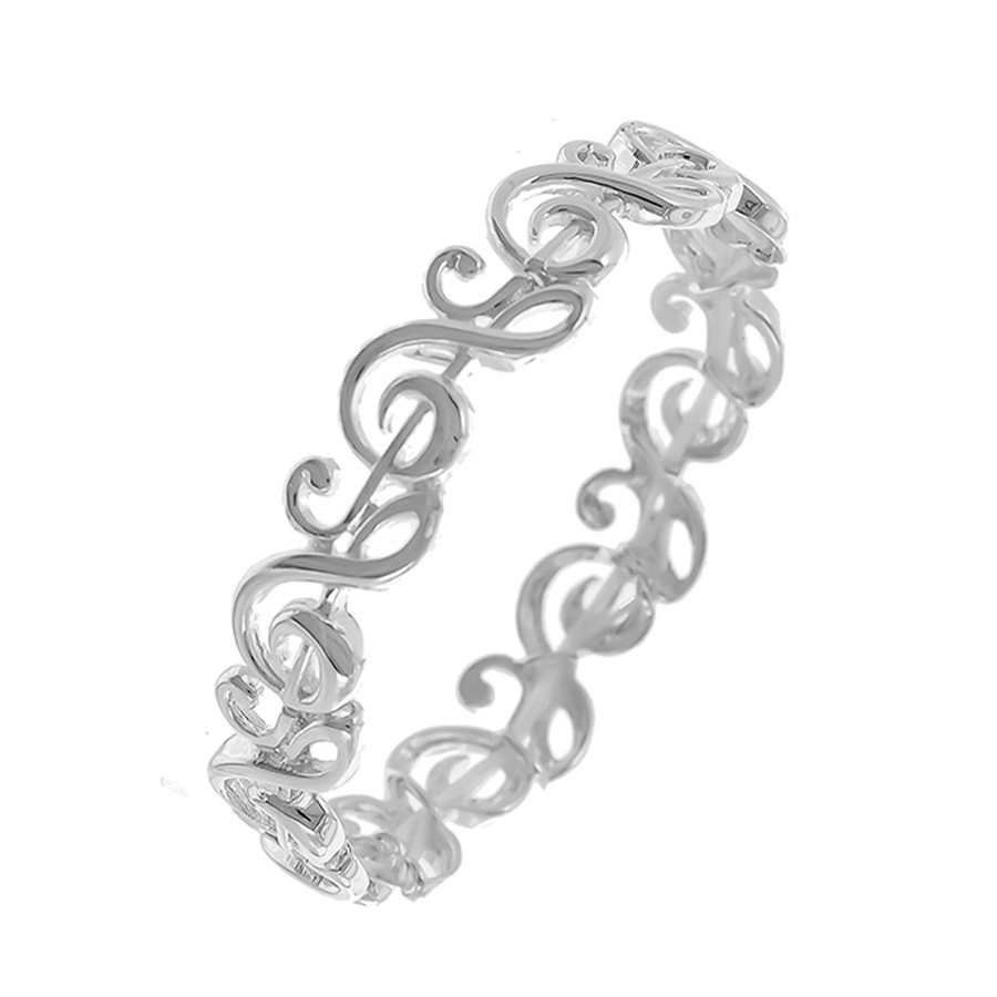 Silver Treble Clef Stretch Bracelet