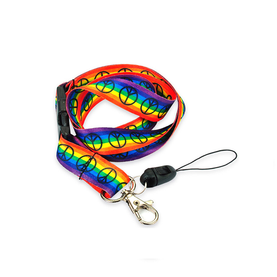 Rainbow Striped Peace Sign Fabric Lanyard Necklace with Quick Release and 2 ID/Badge/Card Holders