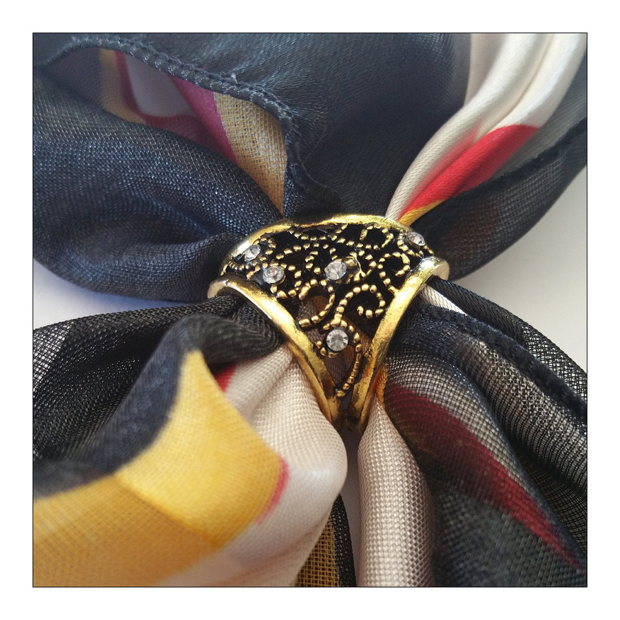 Bejeweled Antiqued Golden Three-Hole Scarf Ring