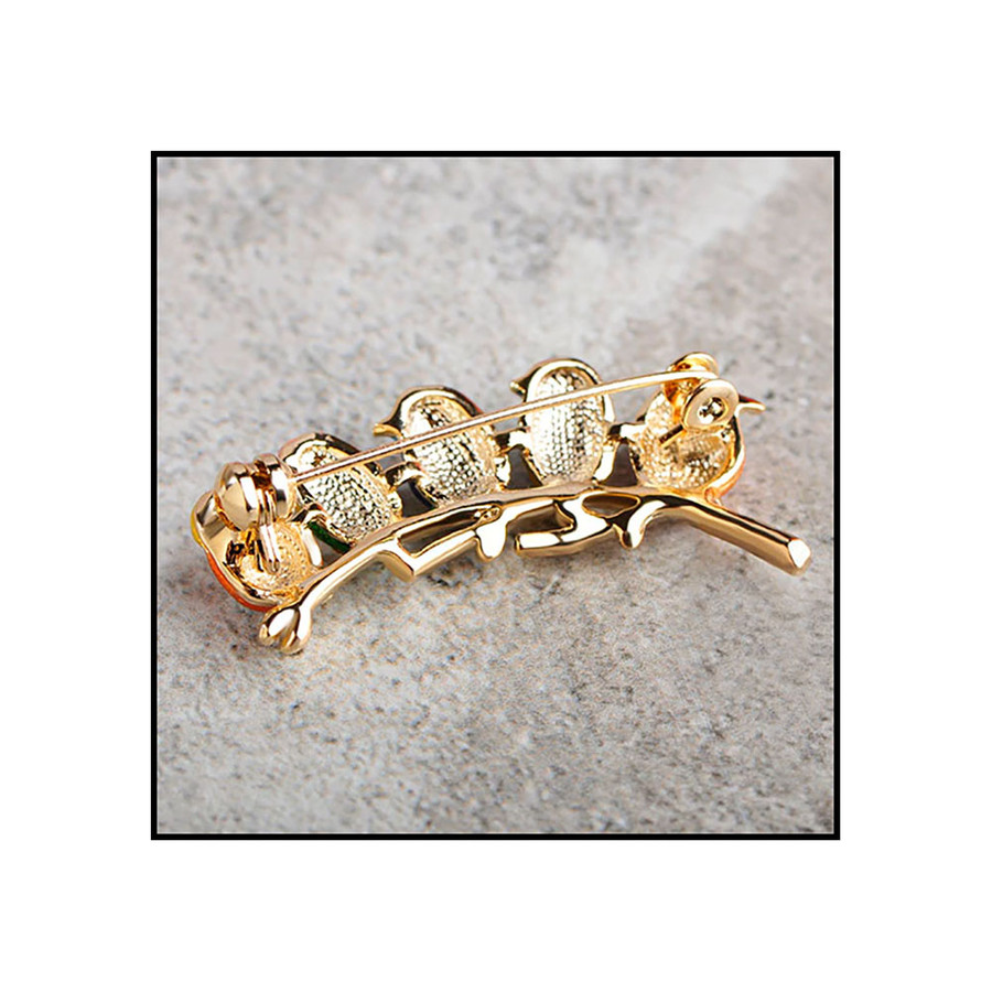 """""""Five Little Birds"""" Deluxe Bejeweled and Enameled Pin"""