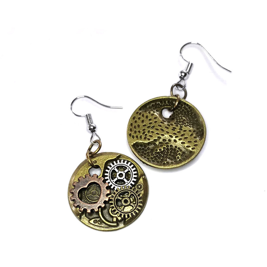 Steampunk Gear and Cog Circle Drop Earrings