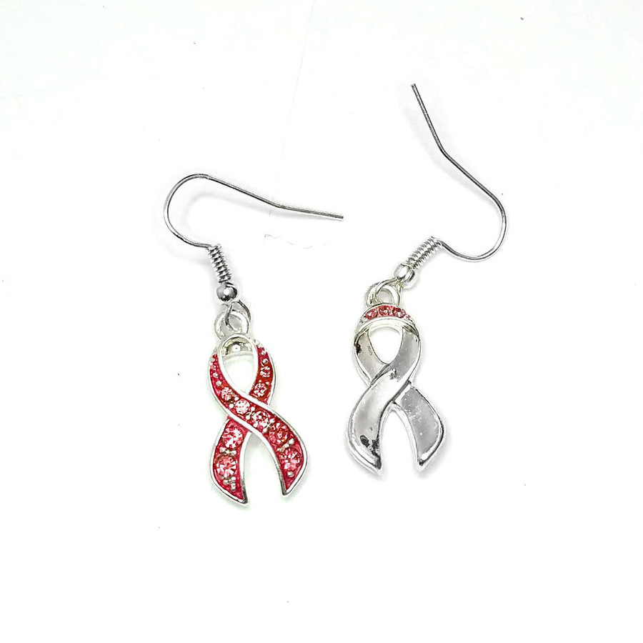 Bejeweled and Enameled Pink Ribbon Drop Earrings [Breast Cancer Awareness]