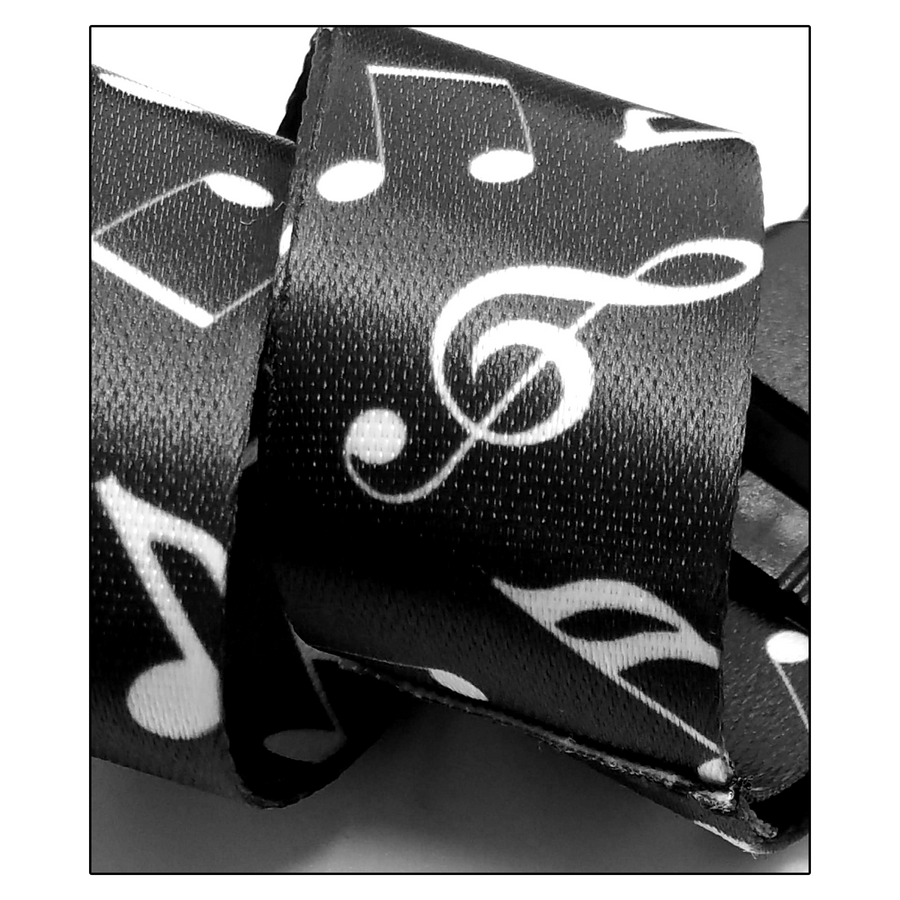 Black and White Music Notes Fabric Lanyard Necklace with Quick Release and 2 ID/Badge/Card Holders