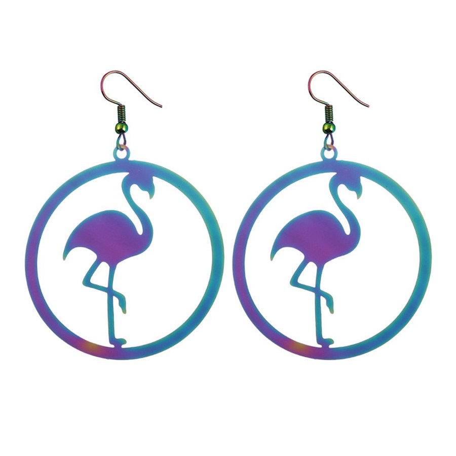 Feather-Light Rainbow-Effect Flamingo Silhouette Stainless Steel Drop Earrings