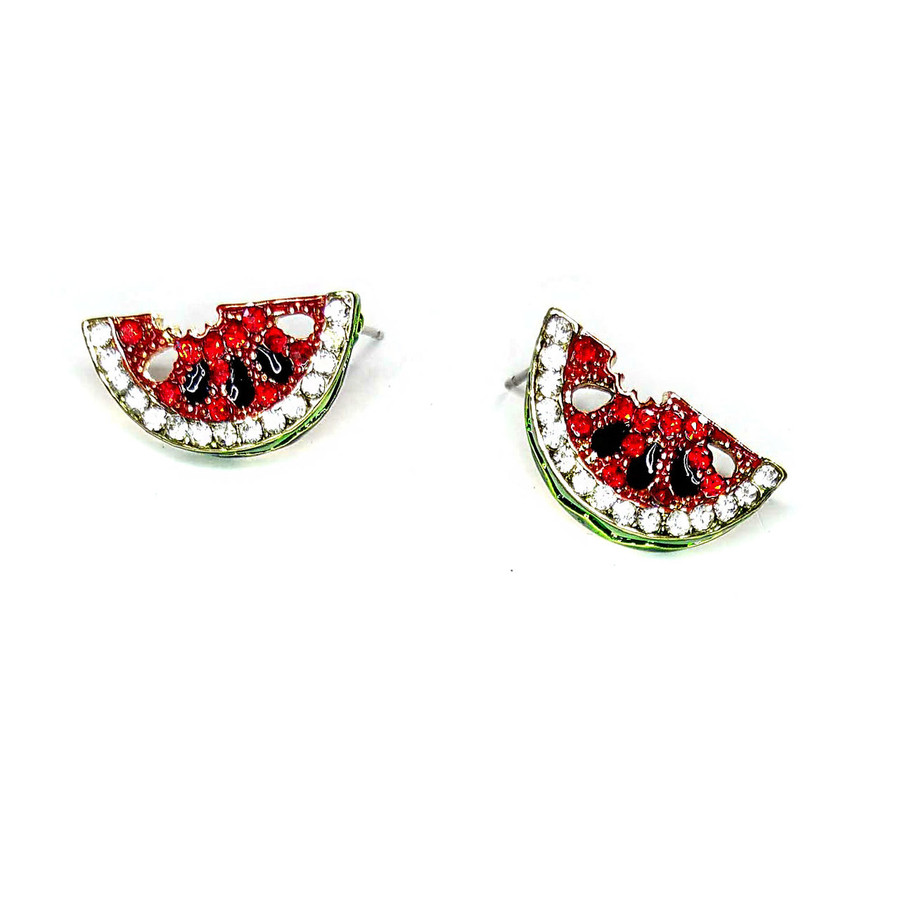 Bejeweled and Enameled Watermelon Slice Post Earrings