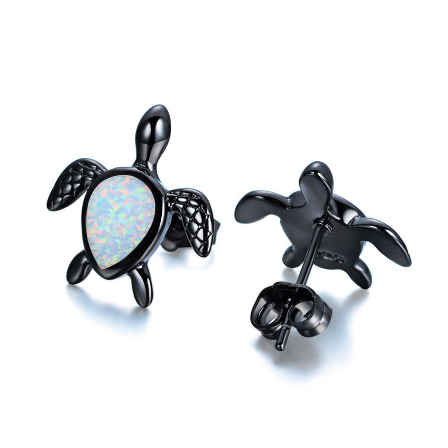 Gunmetal & White Opal Sea Turtle/Honu Post Earrings