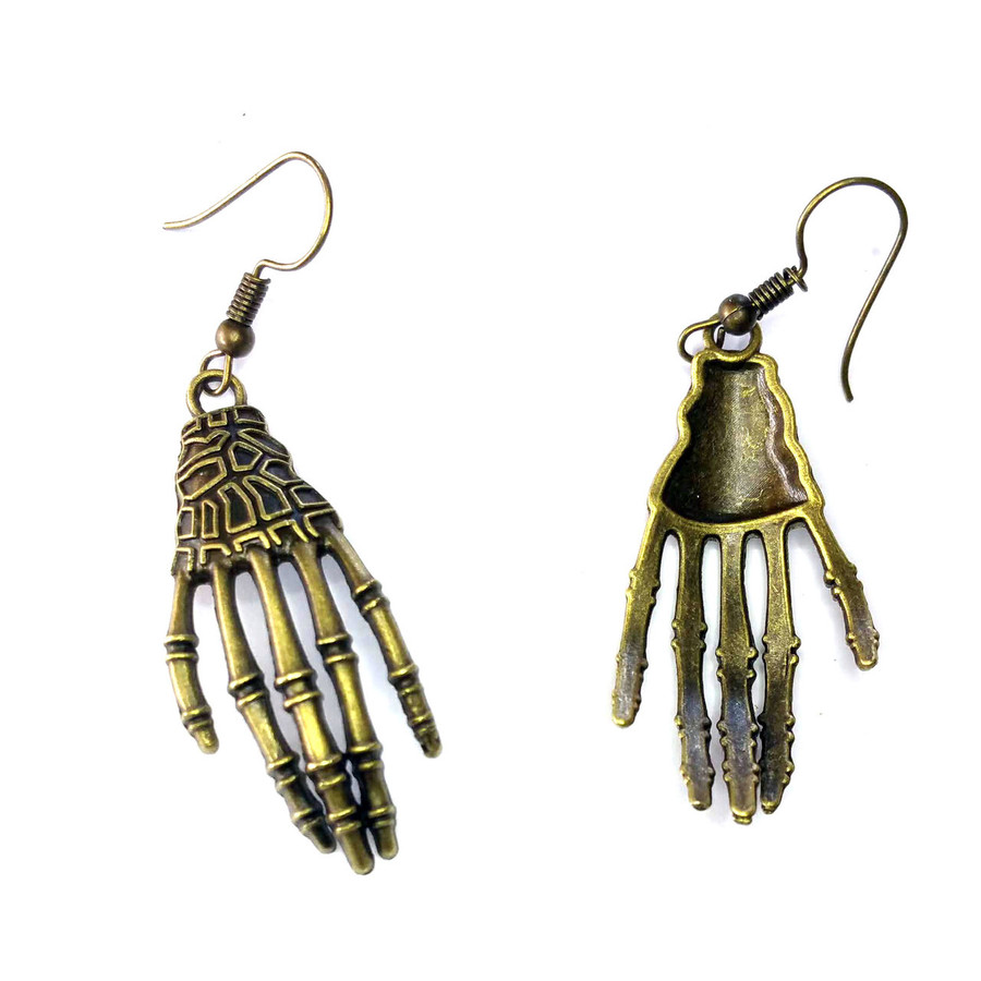 Antiqued Gold Skeleton Hand Drop Earrings