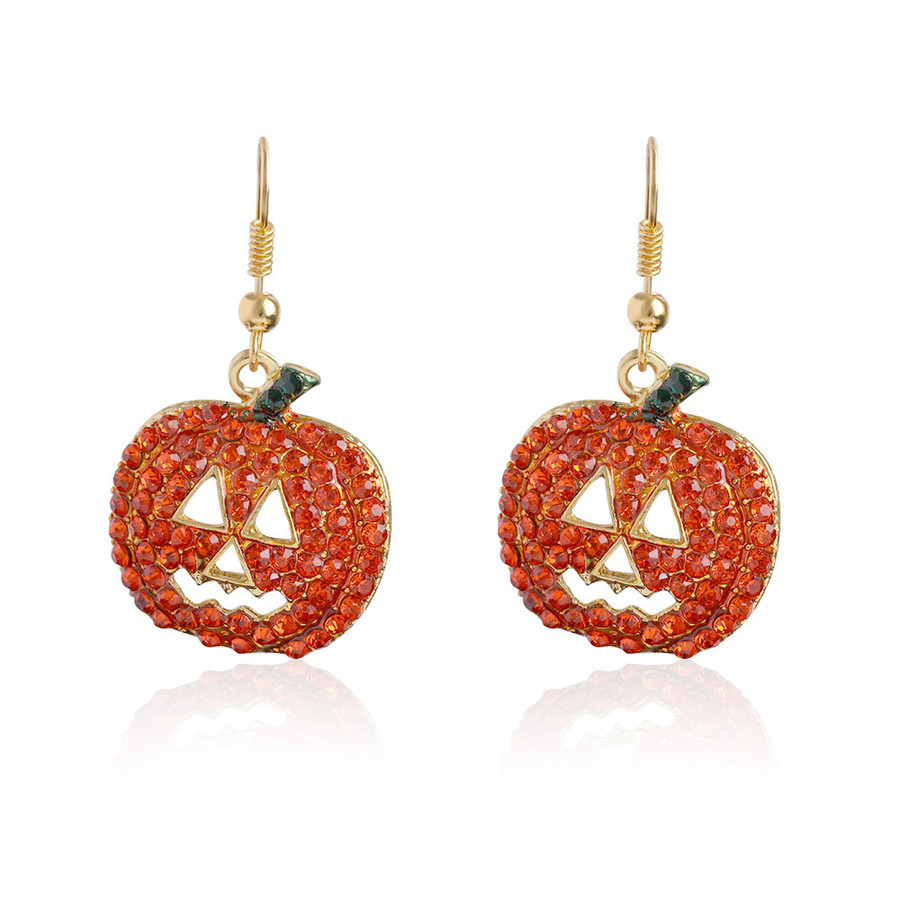 Bejeweled Golden Jack-O-Lantern Drop Earrings