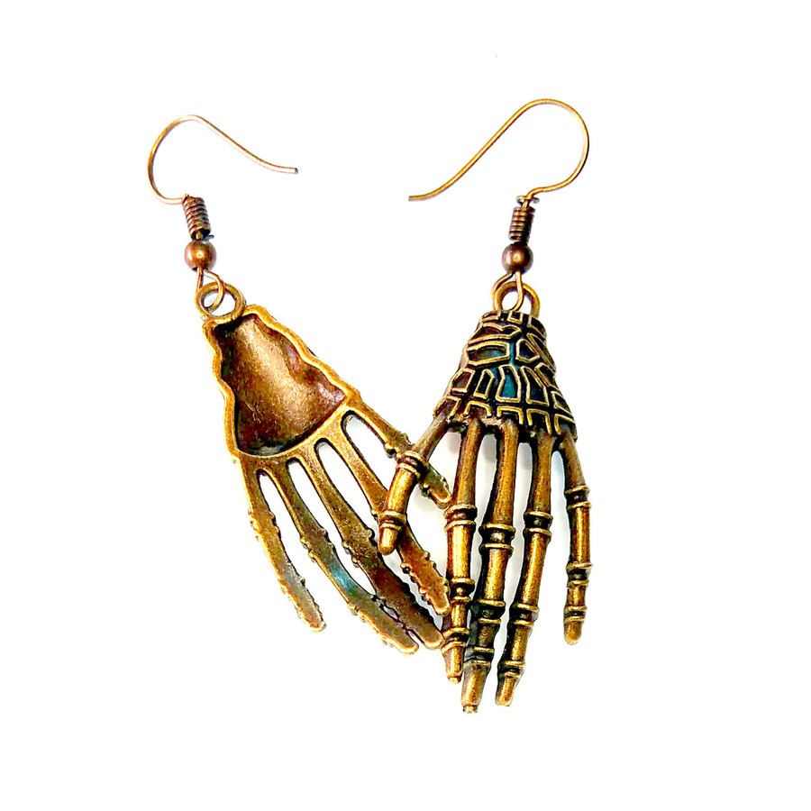 Golden Skeleton Hand Drop Earrings