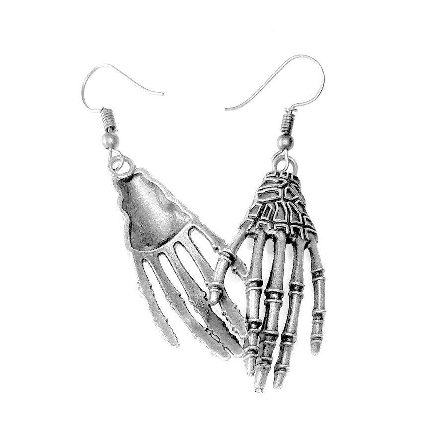 Antiqued Silver Skeleton Hand Drop Earrings