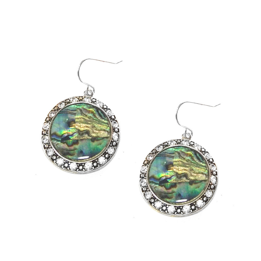 Bejeweled Antiqued Silver Circle Drop Earrings with Abalone Shell Center
