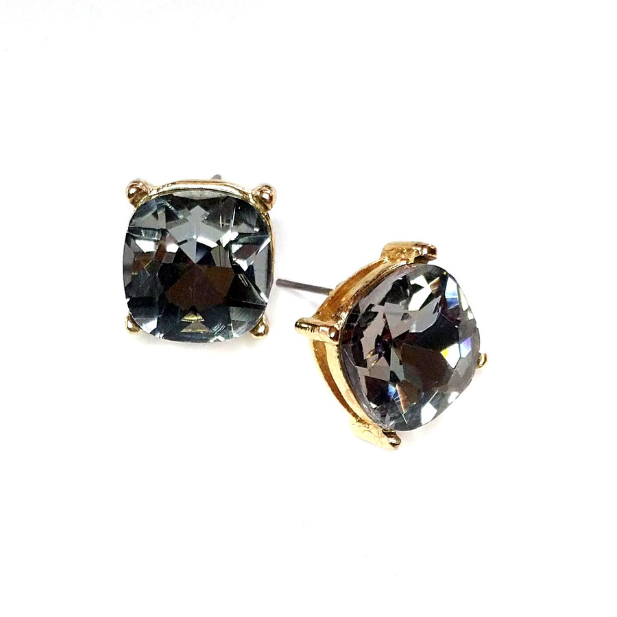Gold and Smoky Cushion-Cut Crystal Solitaire Post Earrings