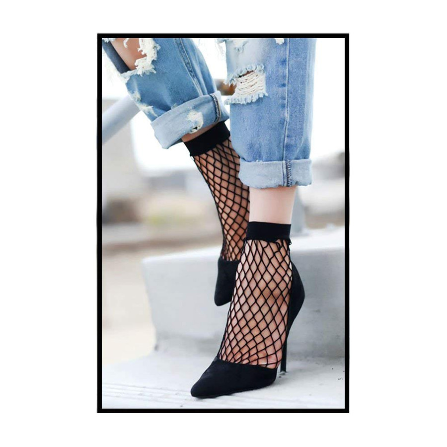 Black Fishnet Anklet Socks