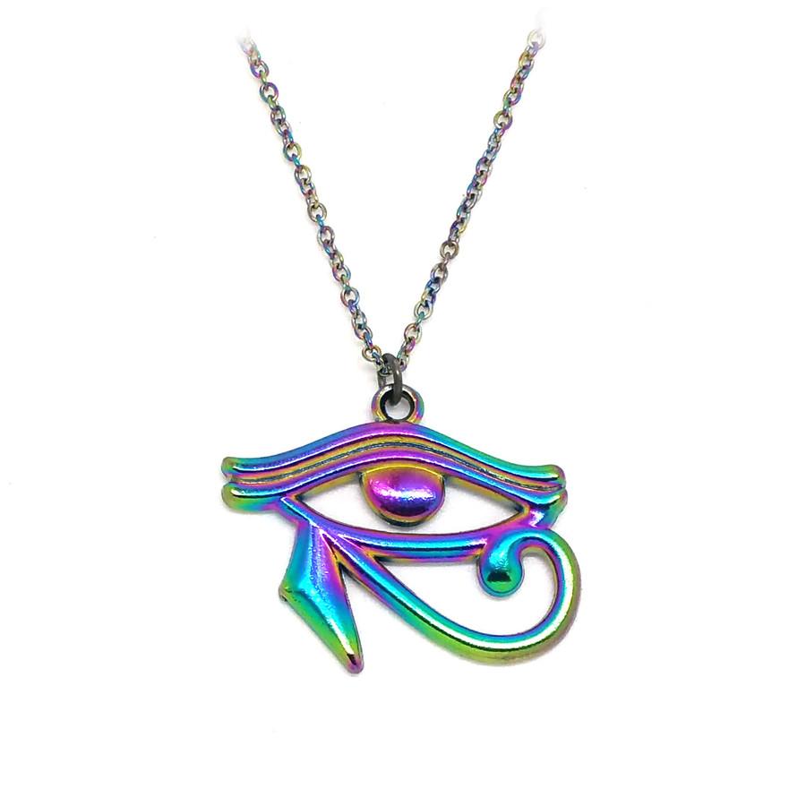 Rainbow-Effect Egyptian Eye Of Horus Necklace