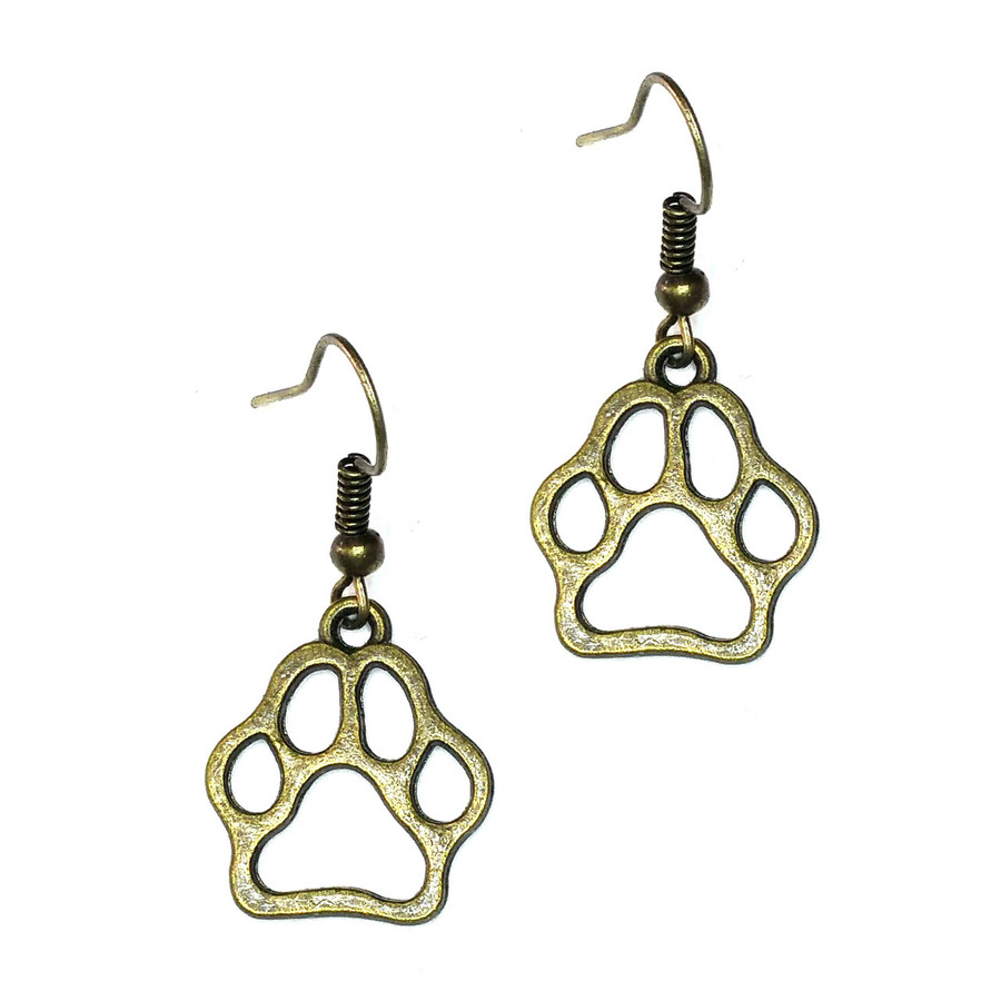 Antiqued Gold Paw Print Outline Drop Earrings