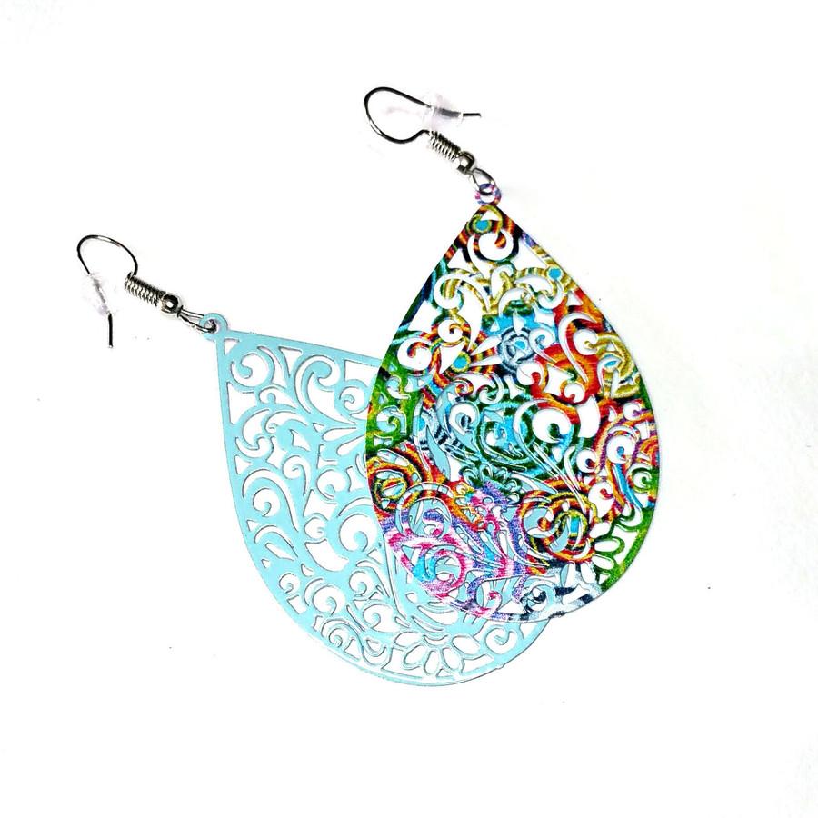 Feather-Light Multicolored Filigree Teardrop Drop Earrings