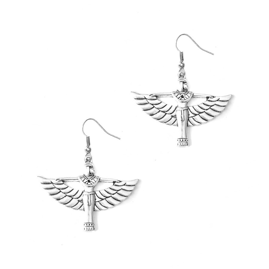 Silver Winged Isis Egyptian Drop Earrings