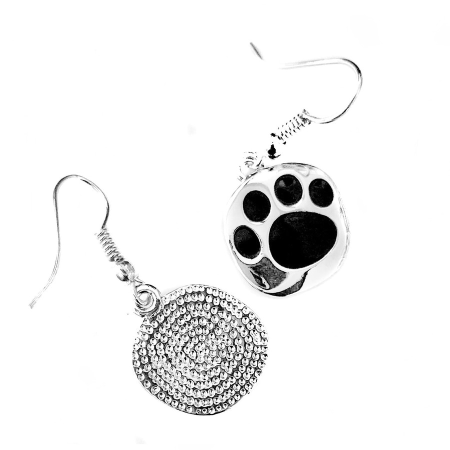 Silver and Black Enameled Paw Print Drop Earrings