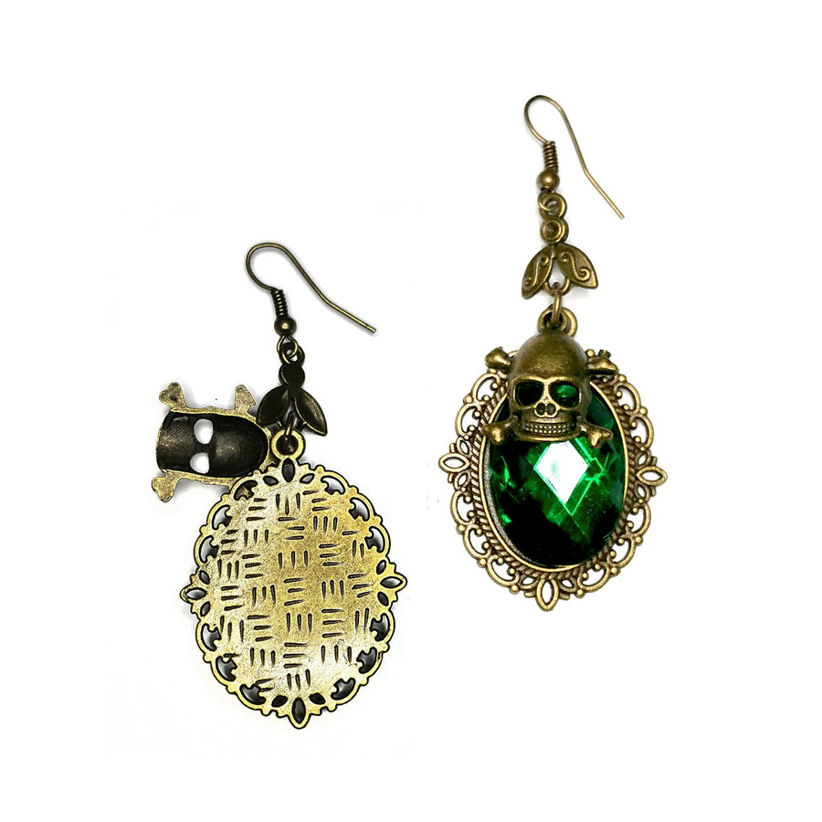 "Emerald Green Crystal Drop Earrings with Antiqued Gold Bezel and Skull Charm (back) - Bright green 1"" faceted oval stones with filigree bezels. 3/4"" skull and crossbones charms. Fishhooks. Subtle back pattern may vary."
