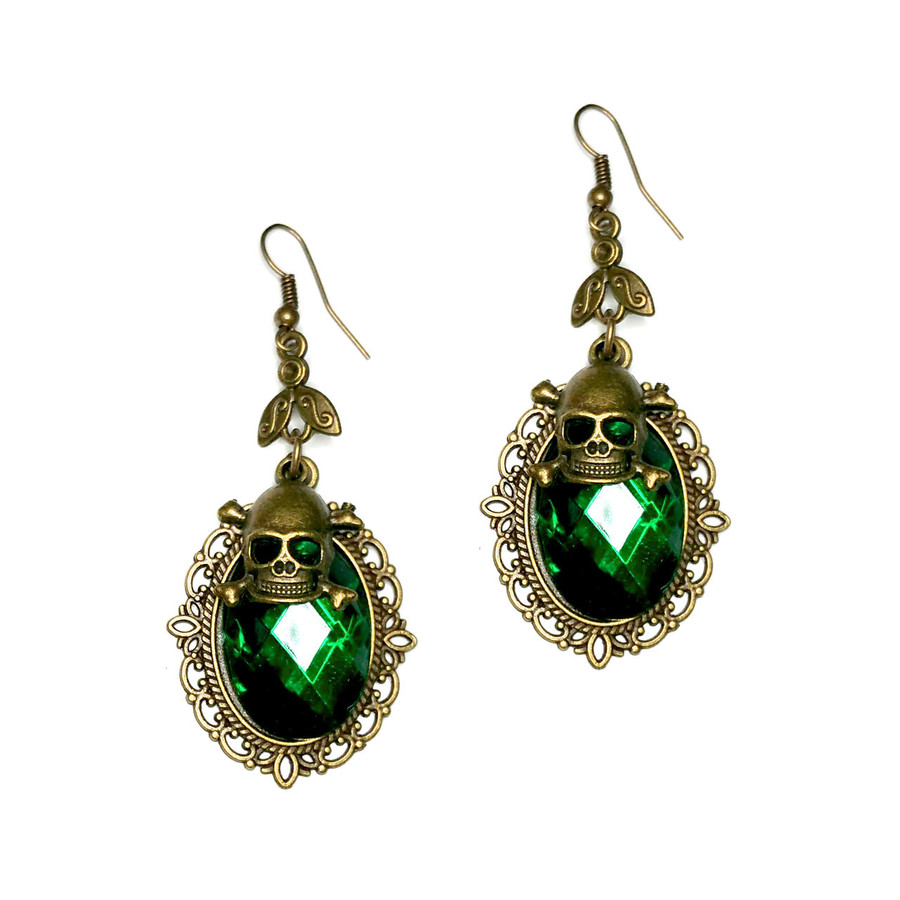 Emerald Green Crystal Drop Earrings with Antiqued Gold Bezel and Skull Charm
