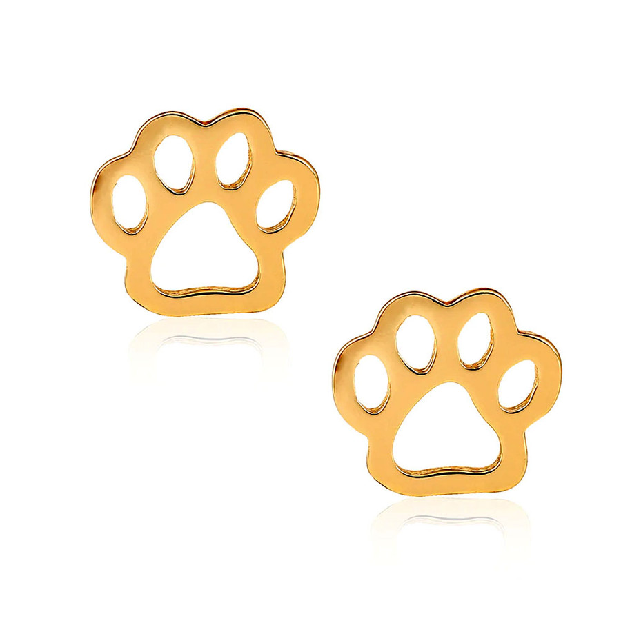 "Golden 7/16"" paw print outlines on top-offset posts. The perfect gift for the animal lovers in your life!"