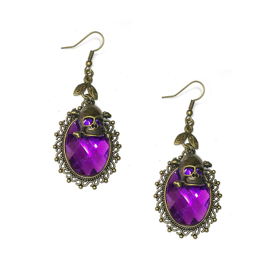 Vibrant Purple Crystal Steampunk Drop Earrings with Antiqued Gold Bezel and Skull Charm