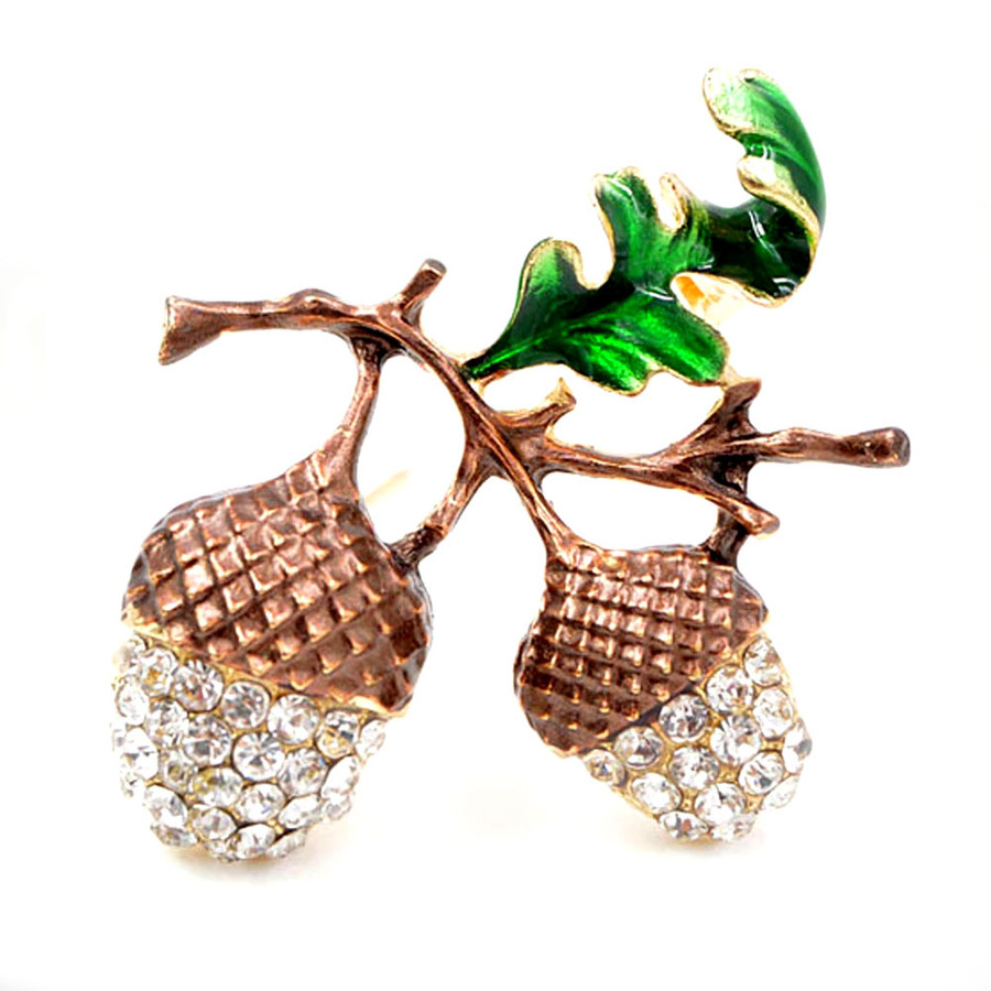Bejeweled and Enameled Golden Acorn Pin