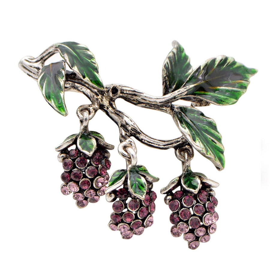 Bejeweled and Enameled Dangling Grapevine Pin