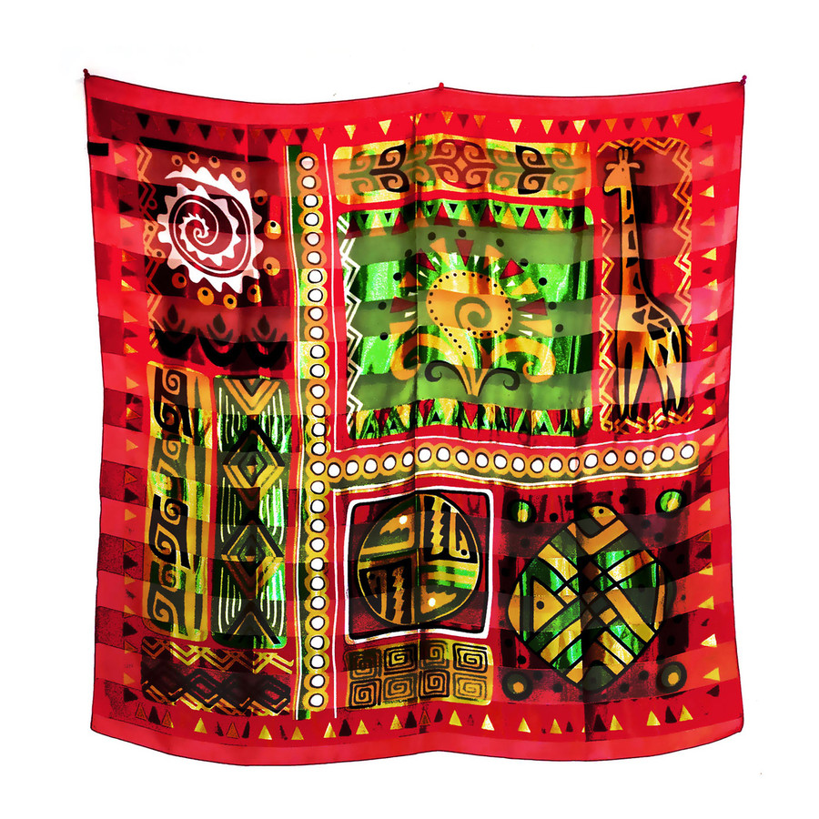 """African Geometric with Giraffe"" Silk-Feel Lightweight Square Scarf (Red)"