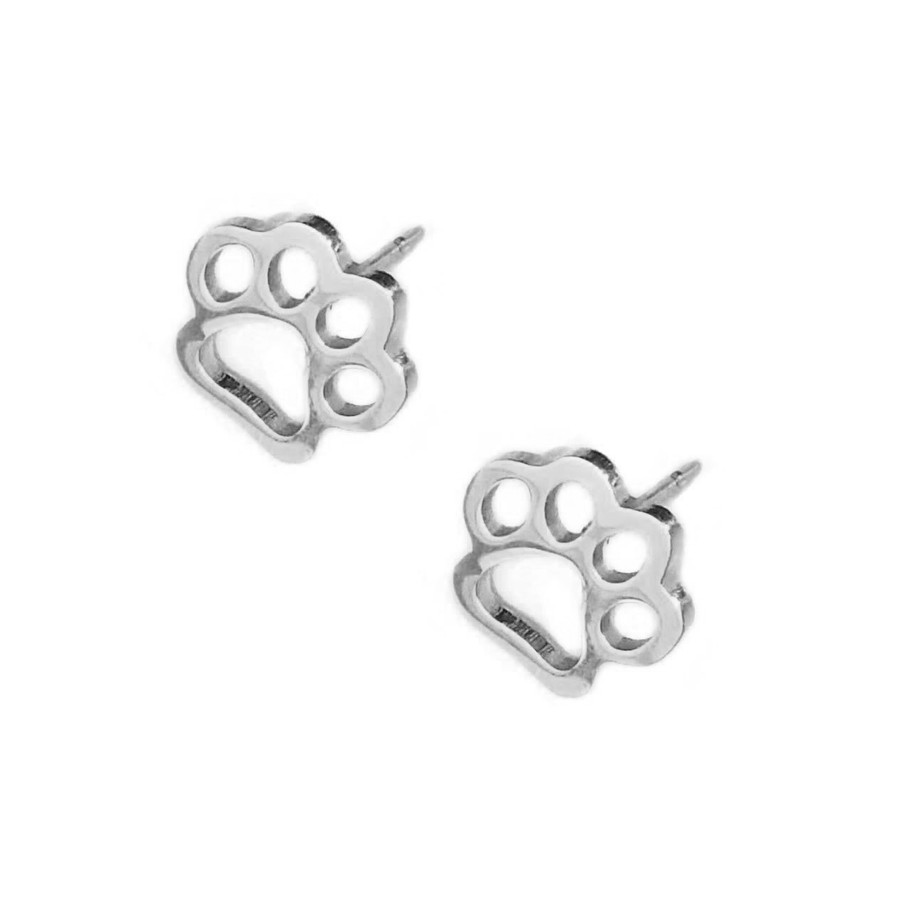 Silver Paw Print Outline Post Earrings