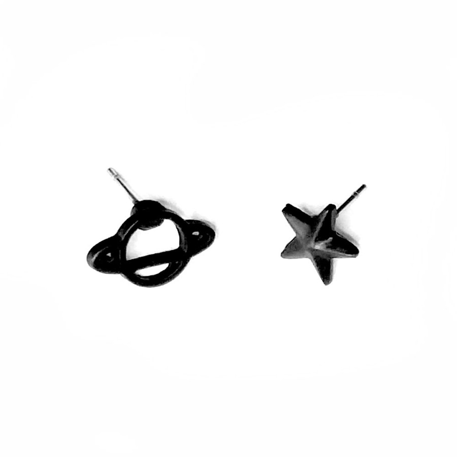 Black Star and Planet Post Earrings