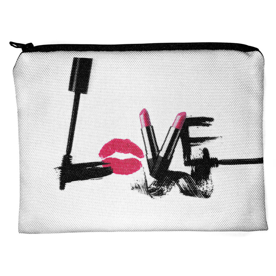 """LOVE"" Flat Fabric Cosmetic Bag"