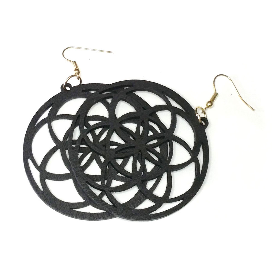 Lightweight Black Wood Mandala/Flower of Life Circle Drop Earrings
