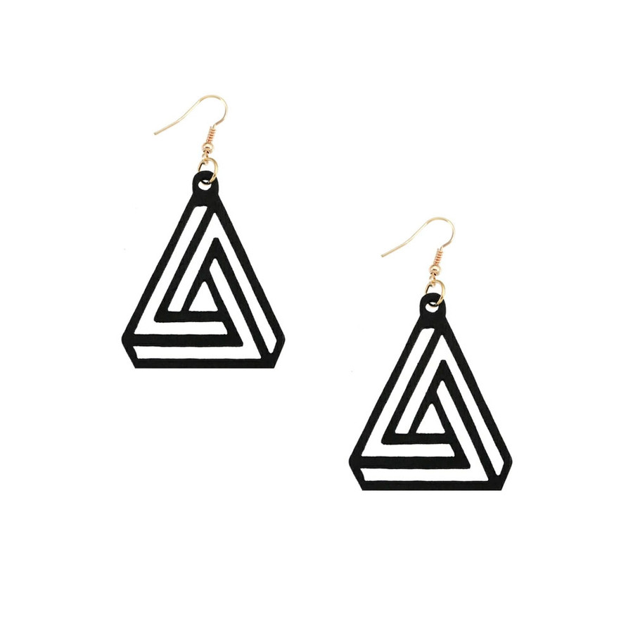 Lightweight Black Wood Geometric Triangle Drop Earrings