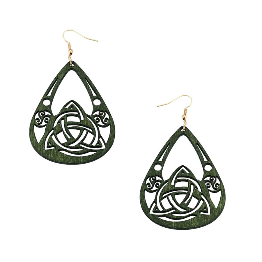 Lightweight Green Wood Celtic Knot Teardrop Drop Earrings