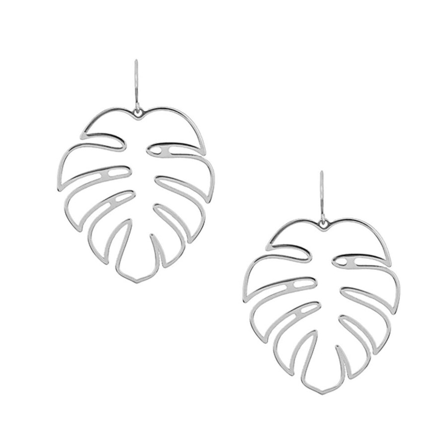 Silver Monstera Philodendron Leaf Outline Drop Earrings