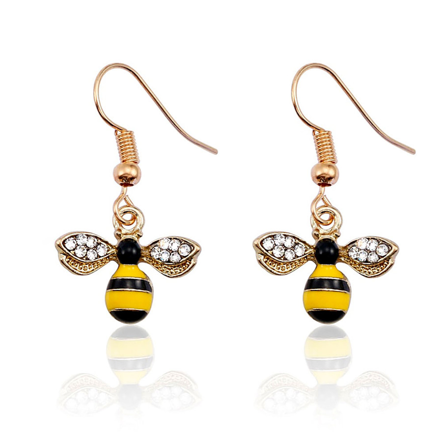 Perfect Little Bejeweled and Enameled Golden Bumble Bee Drop Earrings