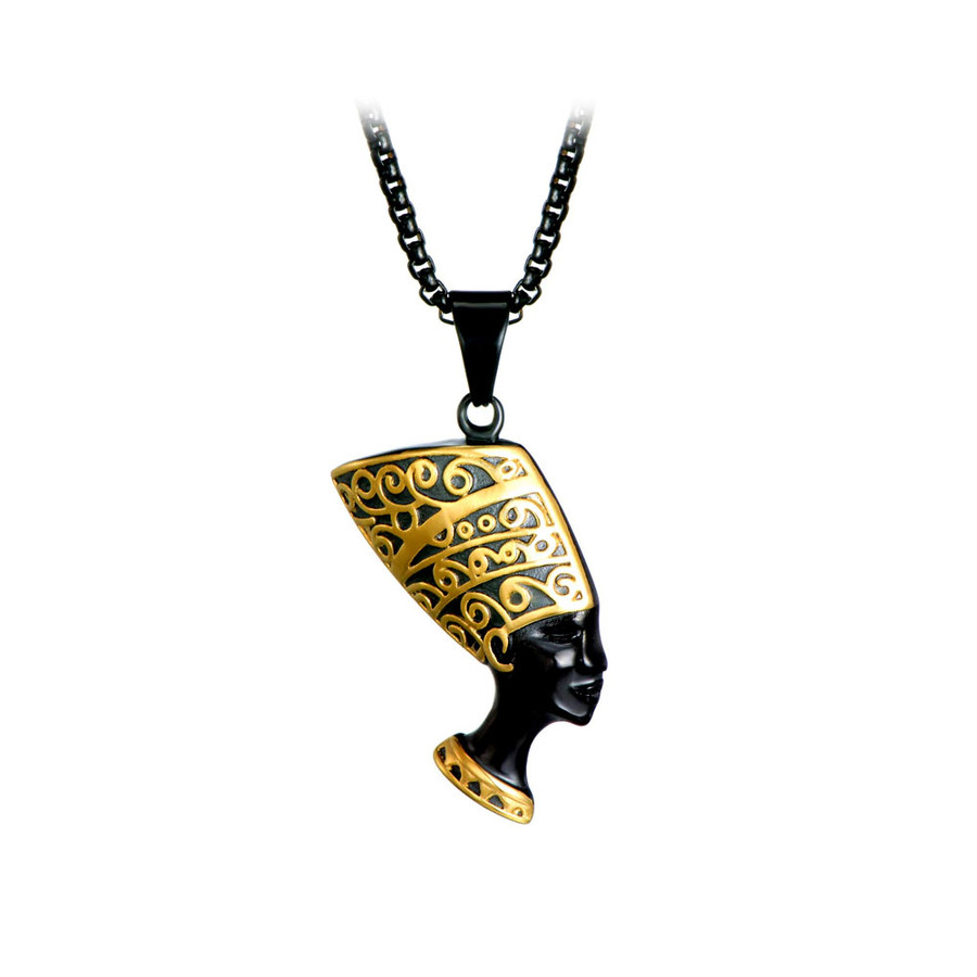 Deluxe Black and Gold Nefertiti Egyptian Pendant Necklace