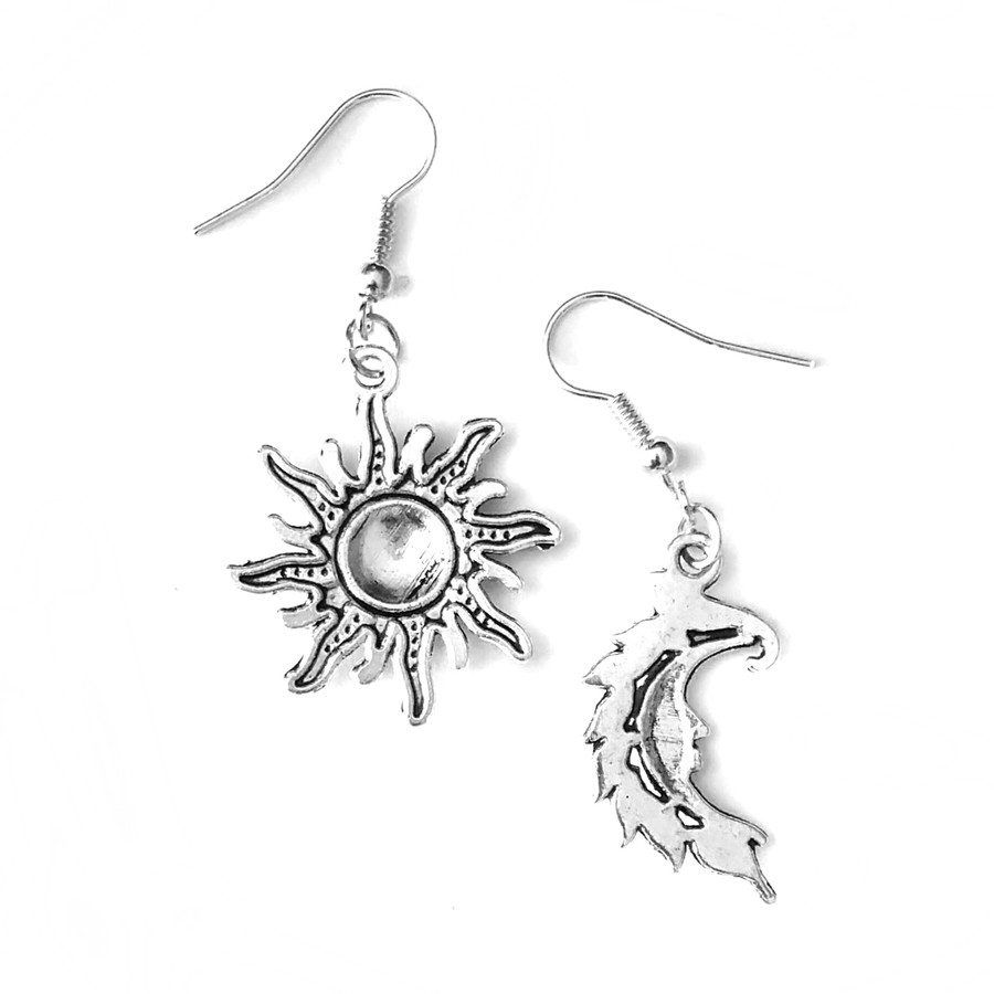 Antiqued Silver Sun and Moon Drop Earrings
