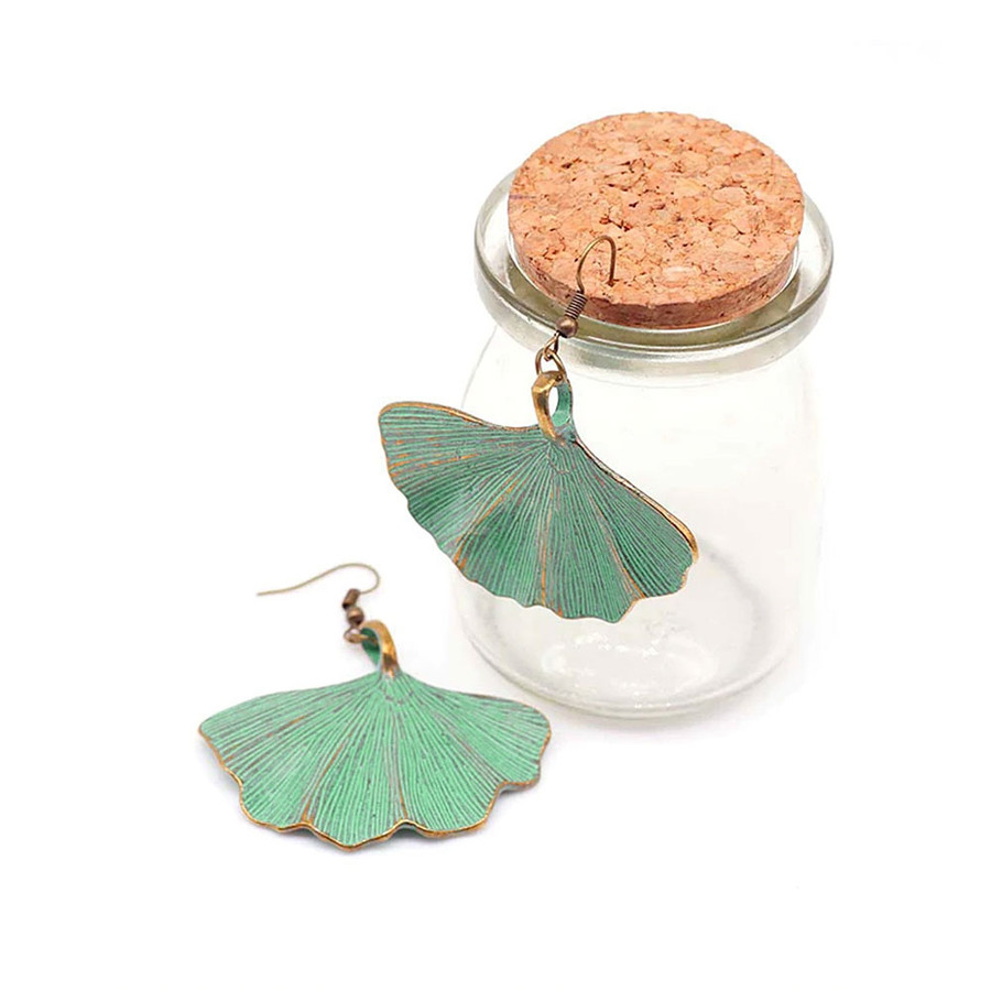 Antiqued Gold Ginkgo Leaf Drop Earrings with Aqua Finish